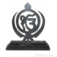Ek Onkar Ik Onkar With Two Sword Wood Model Color Brown Statue-Home Room Office Car Dashboard Decor Gift Item Dashboard Accessories Small Size 2.8 Inches