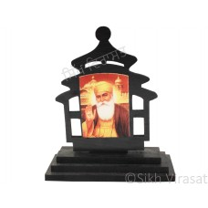 Guru Nanak Dev Ji Wood Model Color Brown Statue-Home Room Office Car Dashboard Decor Gift Item Dashboard Accessories Small Size 3.2 Inches