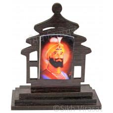 Guru Gobind Singh Ji Wood Model Color Brown Statue-Home Room Office Car Dashboard Decor Gift Item Dashboard Accessories Small Size 3 Inches