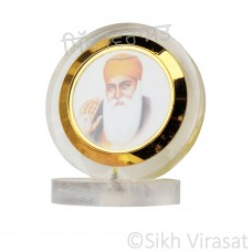Guru Nanak Dev Ji Circle Acrylic Model Color Transparent Statue-Home Room Office Car Dashboard Decor Gift Item Dashboard Accessories Small Size 2.8 Inches