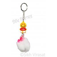 Smile Cartoon with Small Heart and Soft Fluffy Pom Pom Charm Keychain