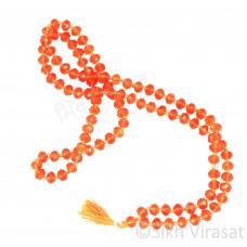Mala Crystal Large 108 Beads (Color- Orange)