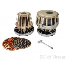 Tabla Child Basic Musical Twin Color Steel Wooden Tabla Set Tabla Drum Set, Pro Grade, Iron Bayan Buffed with Steel, Silver Finish, Wood Dayan, Hand Made Drum Skin, Leather Straps to Tune, Long Life, Comes with Tuning Hammer, Gig Bag, Cushion & Cover