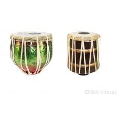 Musicals Twin Color Brass Wooden Tabla Set kids