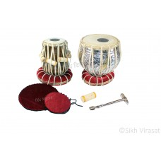 Musicals Twin Color Brass Wooden Tabla Set Tabla Drum Set, Pro Grade, Brass Bayan, Silver Finish, Sheesham Wood Dayan, Hand Made Drum Skin, Leather Straps to Tune, Long Life, Comes with Tuning Hammer, 1 Tuner, Gig Bag, Cushion & Cover