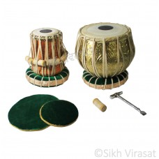 Tabla Set Musicals Twin Color Brass Wooden Tabla Drum Set, Pro Grade, Brass Bayan, Golden Finish, Sheesham Wood Dayan, Hand Made Drum Skin, Leather Straps to Tune, Long Life, Comes with Tuning Hammer, 1 Tuner, Gig Bag, Cushion & Cover