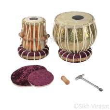 Musicals Twin Color Brass Wooden Tabla Set Tabla Drum Set, Pro Grade, Brass Bayan, Golden Finish, Sheesham Wood Dayan, Hand Made Drum Skin, Leather Straps to Tune, Long Life, Comes with Tuning Hammer, 1 Tuner, Gig Bag, Cushion & Cover