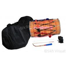 Punjabi Dhol Drum Wood Padded Gig Bag Belt/Strap Sticks to Play (Danka & Chanti) Hand Made