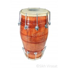 Musicals Instrument Dholki Dholak Drum, Bolt Tuned, Hand Made Wood Color Brown
