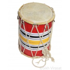 Kids Musicals Instrument Dholki Dholak Drum, Rope, Hand Made Wood Medium Color Multi