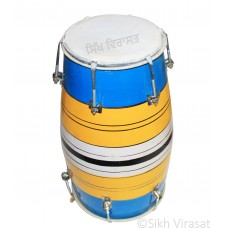Kids Dholki Dholak Drum, Bolt Tuned, Hand Made Musicals Instrument Wood Color Blue Yellow