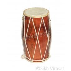 Musicals Instrument Kids Dholki Dholak Drum, Rope, Hand Made Wood Color Brown