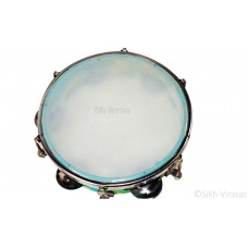 Tambourine Dafli Plastic 5 Steel Jingles Indian Musical Instrument Plastic Cymbal Jingle Tambourine Music Size Small Color Mix