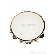 Tambourine Dafli Plastic 8 Steel Jingles Indian Musical Instrument Plastic Cymbal Jingle Tambourine Music Size Large Color Orange